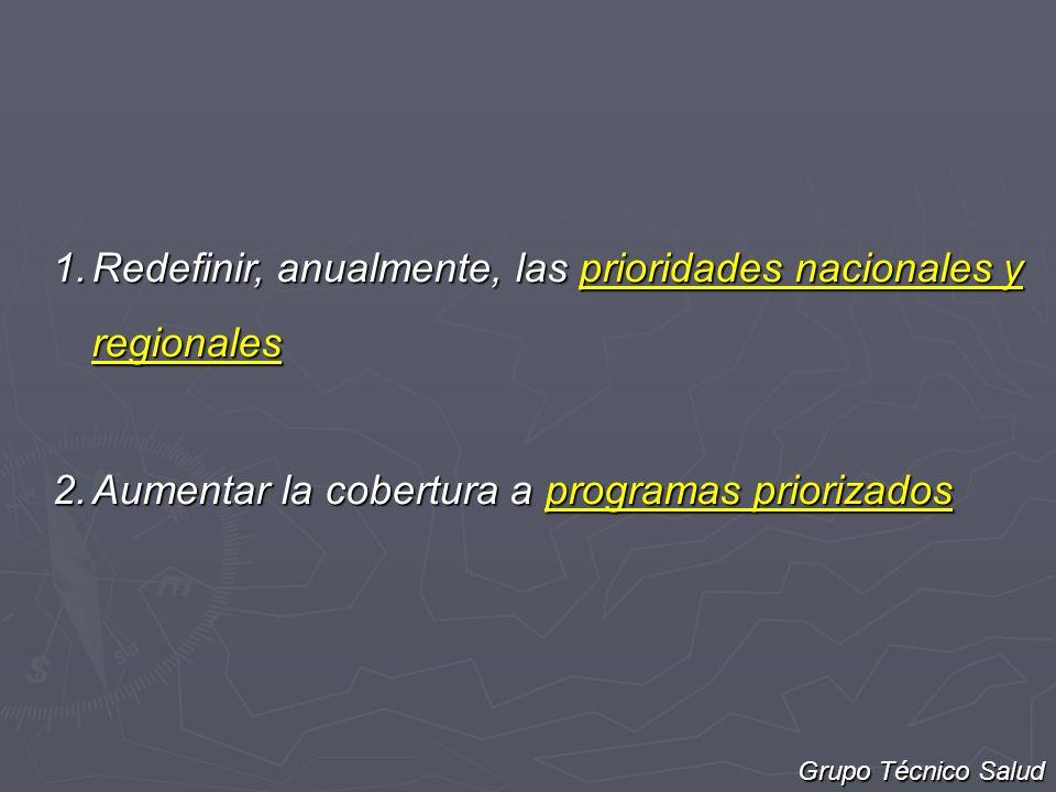 1.Redefinir, anualmente, las prioridades nacionales y regionales 2.Aumentar la cobertura a programas priorizados Grupo Técnico Salud