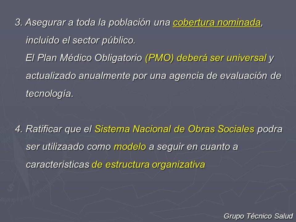 3. Asegurar a toda la población una cobertura nominada, incluido el sector público. El Plan Médico Obligatorio (PMO) deberá ser universal y actualizad