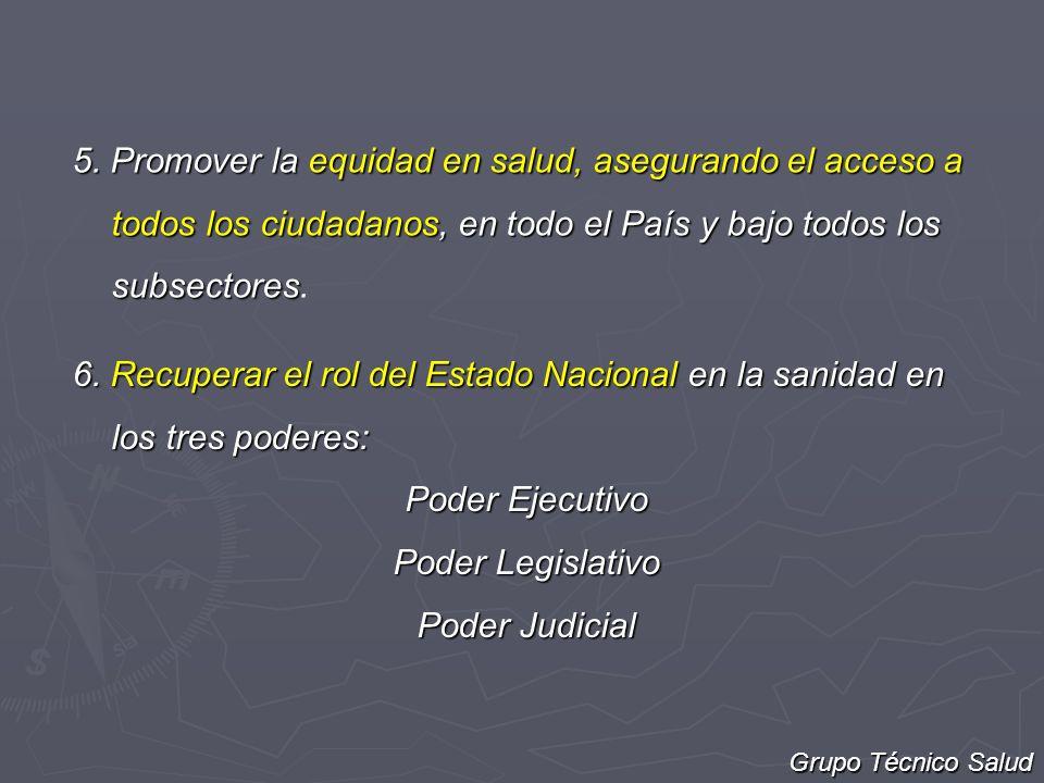 5. Promover la equidad en salud, asegurando el acceso a todos los ciudadanos, en todo el País y bajo todos los subsectores 5. Promover la equidad en s