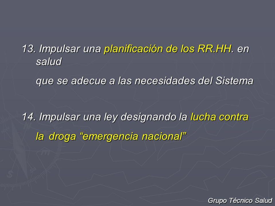 13. Impulsar una planificación de los RR.HH. en salud que se adecue a las necesidades del Sistema 14. Impulsar una ley designando la lucha contra la d