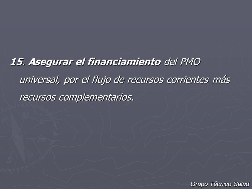 15. Asegurar el financiamiento del PMO universal, por el flujo de recursos corrientes más recursos complementarios. Grupo Técnico Salud