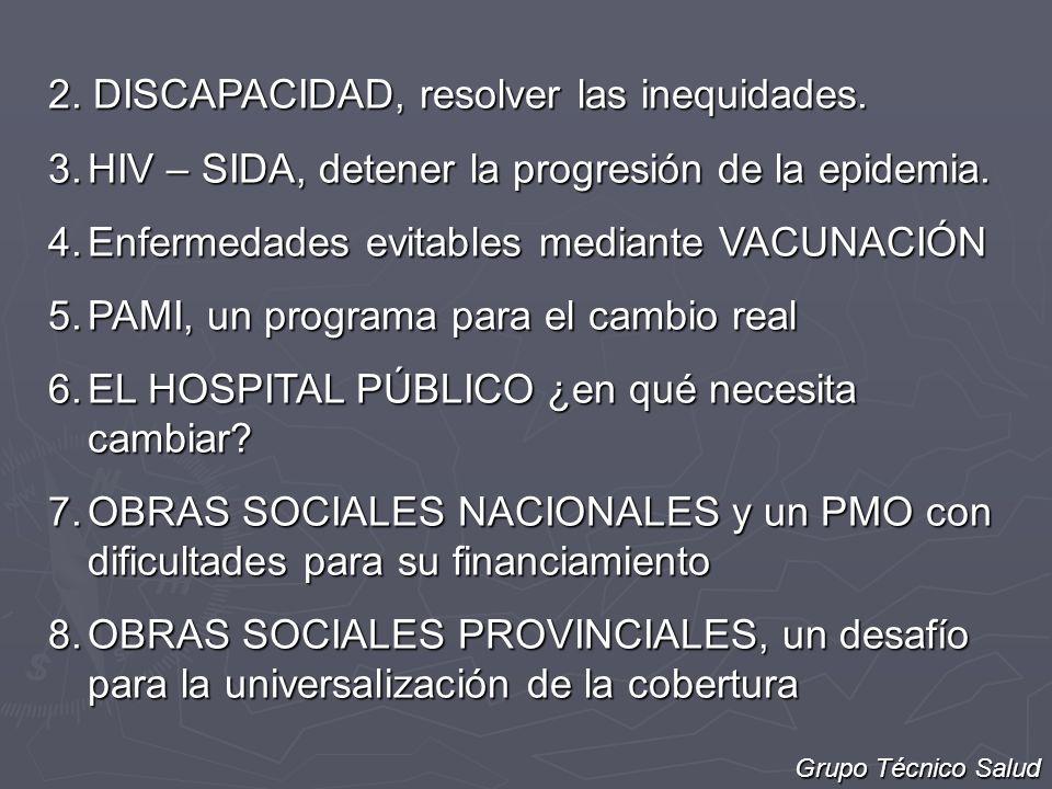 2. DISCAPACIDAD, resolver las inequidades. 3.HIV – SIDA, detener la progresión de la epidemia. 4.Enfermedades evitables mediante VACUNACIÓN 5.PAMI, un