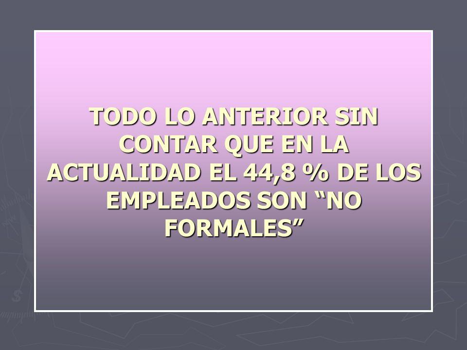 TODO LO ANTERIOR SIN CONTAR QUE EN LA ACTUALIDAD EL 44,8 % DE LOS EMPLEADOS SON NO FORMALES