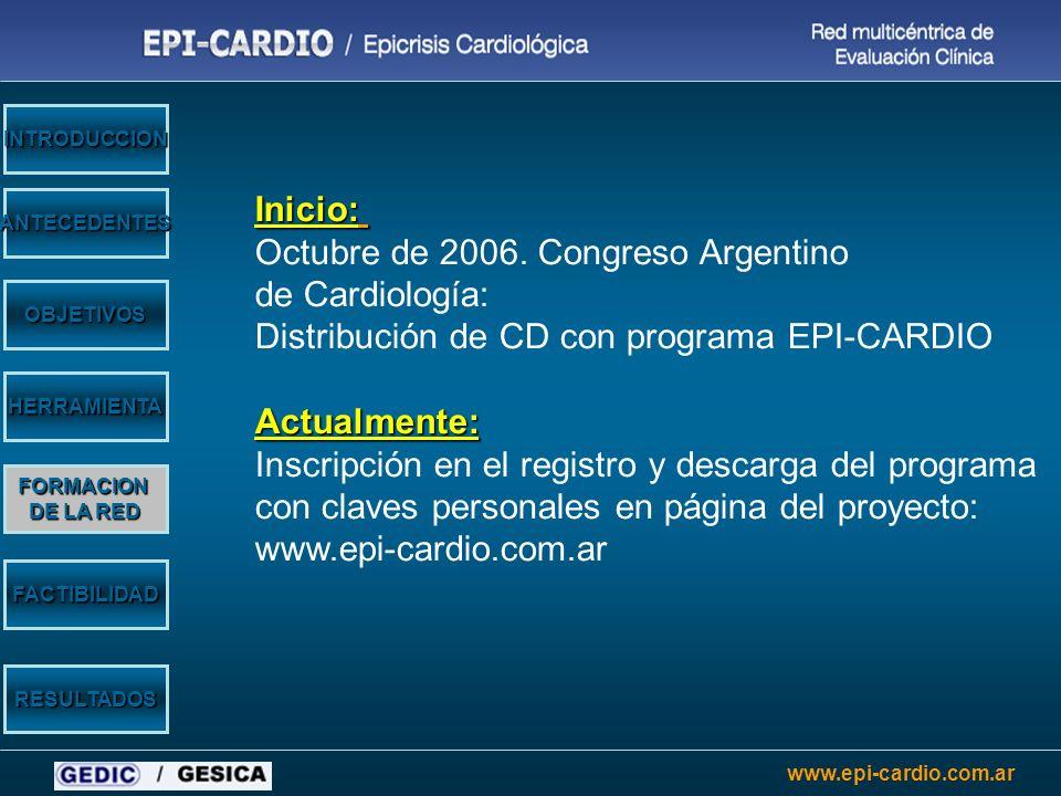 www.epi-cardio.com.ar Inicio: Octubre de 2006. Congreso Argentino de Cardiología: Distribución de CD con programa EPI-CARDIOActualmente: Inscripción e