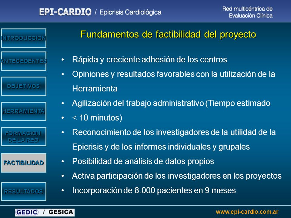www.epi-cardio.com.ar OBJETIVOS HERRAMIENTA ANTECEDENTES INTRODUCCION RESULTADOS FACTIBILIDAD FORMACION DE LA RED Fundamentos de factibilidad del proy