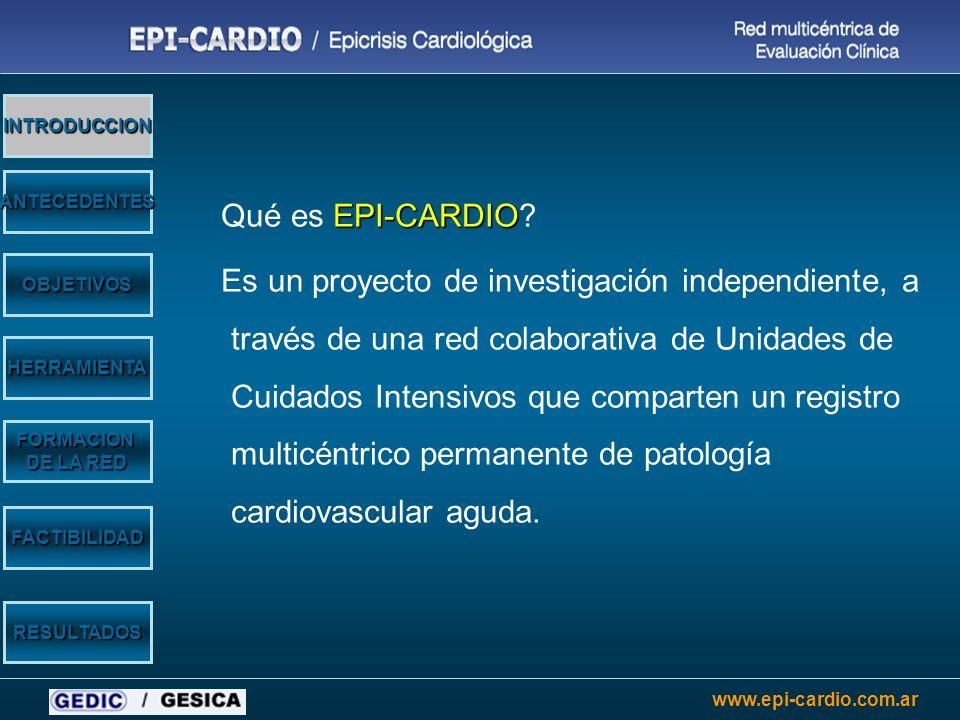 www.epi-cardio.com.ar En Argentina no es sistemático el registro de datos de internación en áreas de cuidados cardiológicos intensivos En muchos centros, la ausencia de recursos lo dificulta Esto conlleva a un desconocimiento de las estadísticas institucionales, regionales y nacionales relacionadas con la patología cardiovascular de internación OBJETIVOS HERRAMIENTA FORMACION DE LA RED INTRODUCCION ANTECEDENTES FACTIBILIDAD RESULTADOS