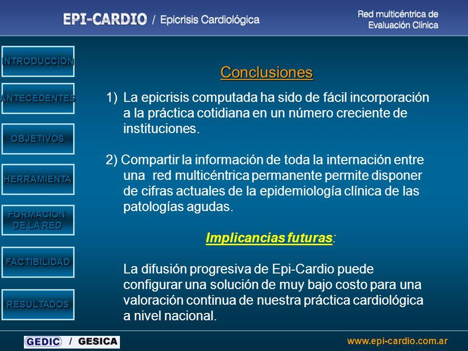www.epi-cardio.com.ar OBJETIVOS HERRAMIENTA ANTECEDENTES INTRODUCCION FORMACION DE LA RED FACTIBILIDAD RESULTADOS Conclusiones 1)La epicrisis computad