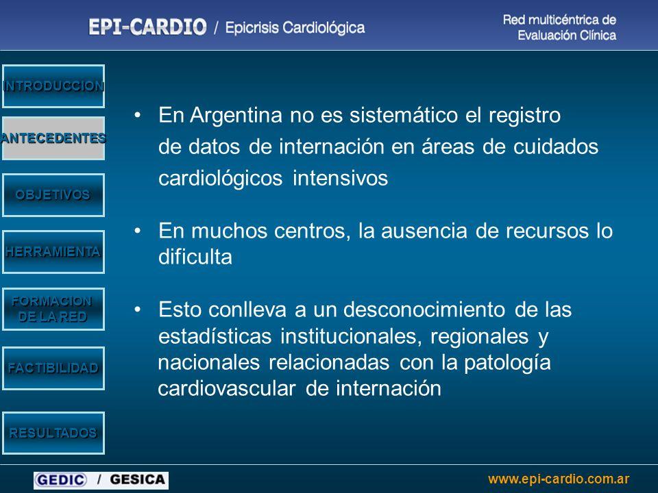 www.epi-cardio.com.ar En Argentina no es sistemático el registro de datos de internación en áreas de cuidados cardiológicos intensivos En muchos centr