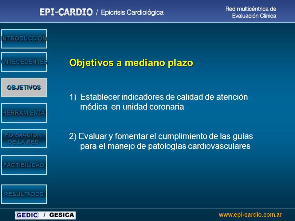 www.epi-cardio.com.ar Objetivos a mediano plazo 1)Establecer indicadores de calidad de atención médica en unidad coronaria 2) Evaluar y fomentar el cu