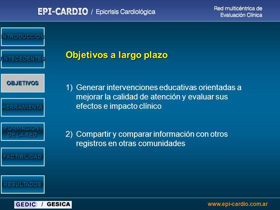 www.epi-cardio.com.ar Objetivos a largo plazo 1)Generar intervenciones educativas orientadas a mejorar la calidad de atención y evaluar sus efectos e