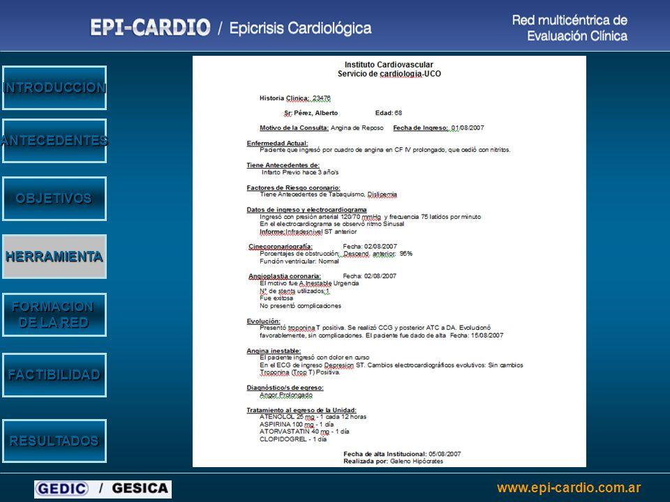 www.epi-cardio.com.ar Características de los centros OBJETIVOS HERRAMIENTA ANTECEDENTES INTRODUCCION FORMACION DE LA RED RESULTADOS FACTIBILIDAD