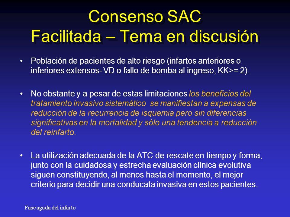 Fase aguda del infarto Consenso SAC Facilitada – Tema en discusión Población de pacientes de alto riesgo (infartos anteriores o inferiores extensos- VD o fallo de bomba al ingreso, KK>= 2).