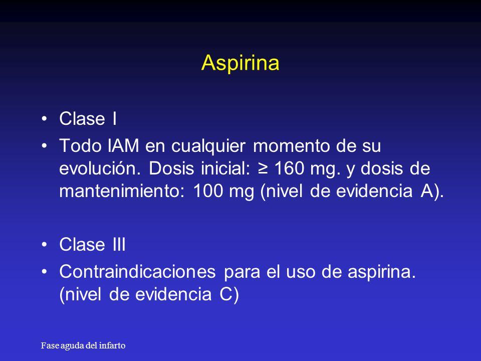 Fase aguda del infarto Aspirina Clase I Todo IAM en cualquier momento de su evolución.