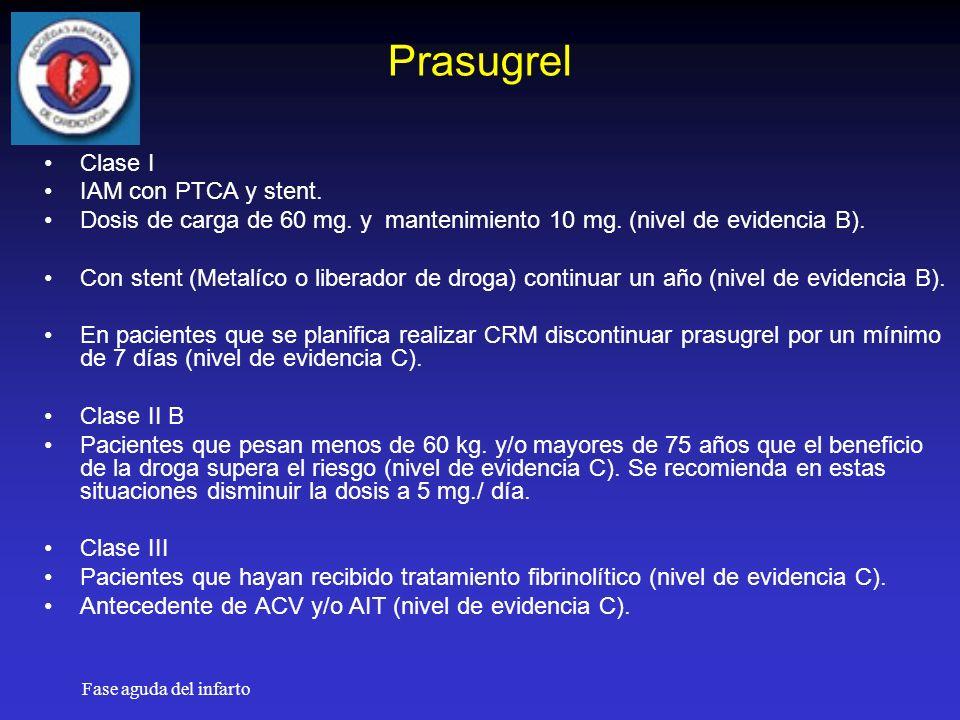 Fase aguda del infarto Prasugrel Clase I IAM con PTCA y stent.