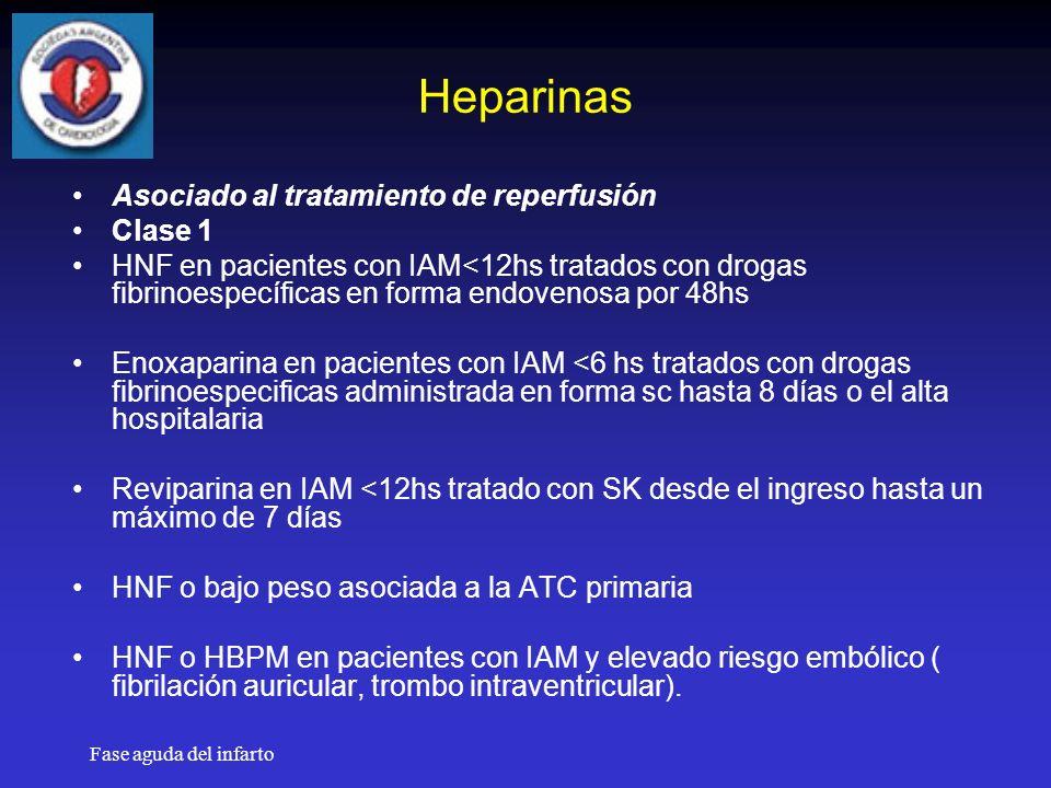 Fase aguda del infarto Heparinas Asociado al tratamiento de reperfusión Clase 1 HNF en pacientes con IAM<12hs tratados con drogas fibrinoespecíficas en forma endovenosa por 48hs Enoxaparina en pacientes con IAM <6 hs tratados con drogas fibrinoespecificas administrada en forma sc hasta 8 días o el alta hospitalaria Reviparina en IAM <12hs tratado con SK desde el ingreso hasta un máximo de 7 días HNF o bajo peso asociada a la ATC primaria HNF o HBPM en pacientes con IAM y elevado riesgo embólico ( fibrilación auricular, trombo intraventricular).