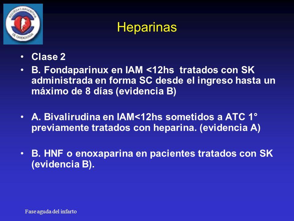 Fase aguda del infarto Heparinas Clase 2 B.