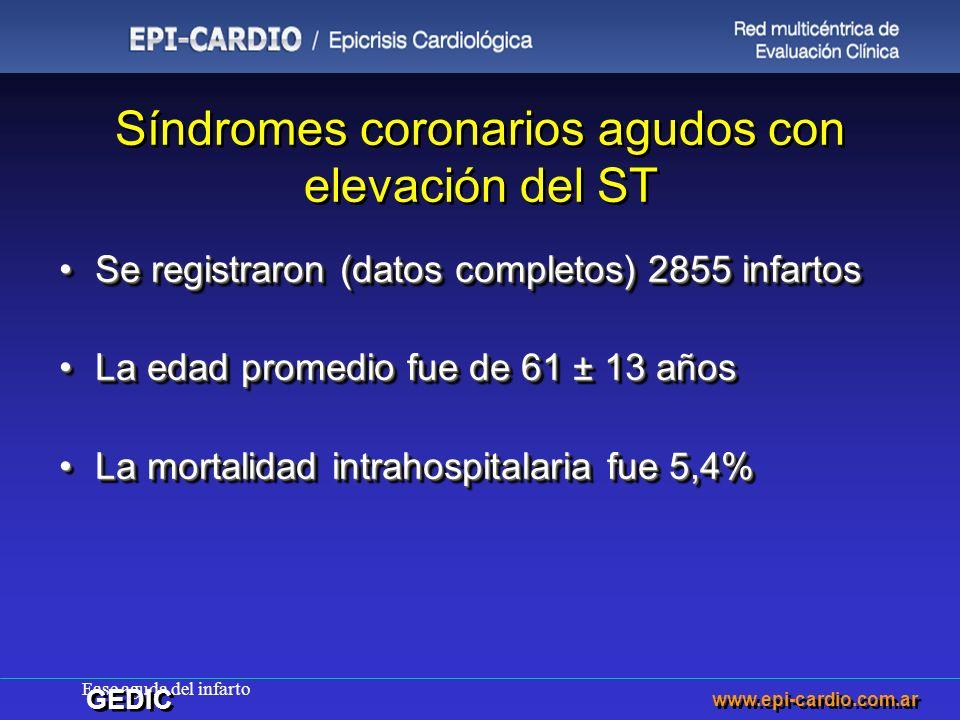 Fase aguda del infarto Síndromes coronarios agudos con elevación del ST Se registraron (datos completos) 2855 infartosSe registraron (datos completos) 2855 infartos La edad promedio fue de 61 ± 13 añosLa edad promedio fue de 61 ± 13 años La mortalidad intrahospitalaria fue 5,4%La mortalidad intrahospitalaria fue 5,4% Se registraron (datos completos) 2855 infartosSe registraron (datos completos) 2855 infartos La edad promedio fue de 61 ± 13 añosLa edad promedio fue de 61 ± 13 años La mortalidad intrahospitalaria fue 5,4%La mortalidad intrahospitalaria fue 5,4% www.epi-cardio.com.ar GEDIC