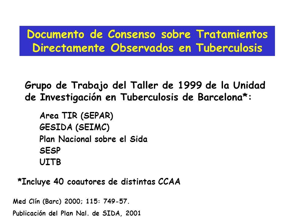 Grupo de Trabajo del Taller de 1999 de la Unidad de Investigación en Tuberculosis de Barcelona*: Documento de Consenso sobre Tratamientos Directamente