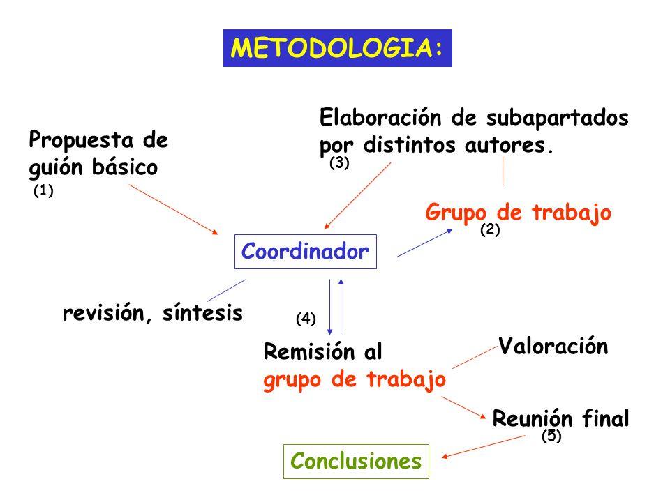 METODOLOGIA: Remisión al grupo de trabajo Coordinador Propuesta de guión básico Grupo de trabajo Elaboración de subapartados por distintos autores. re
