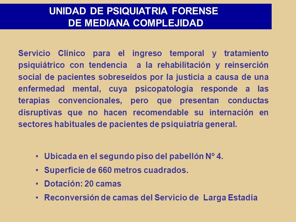 UNIDAD DE EXTERNALIZACION FORENSE Otorga manejo integral del paciente, dando continuidad al proceso de rehabilitación en su fase final, mientras se cumplen los períodos de internación decretados por los Tribunales de Justicia.