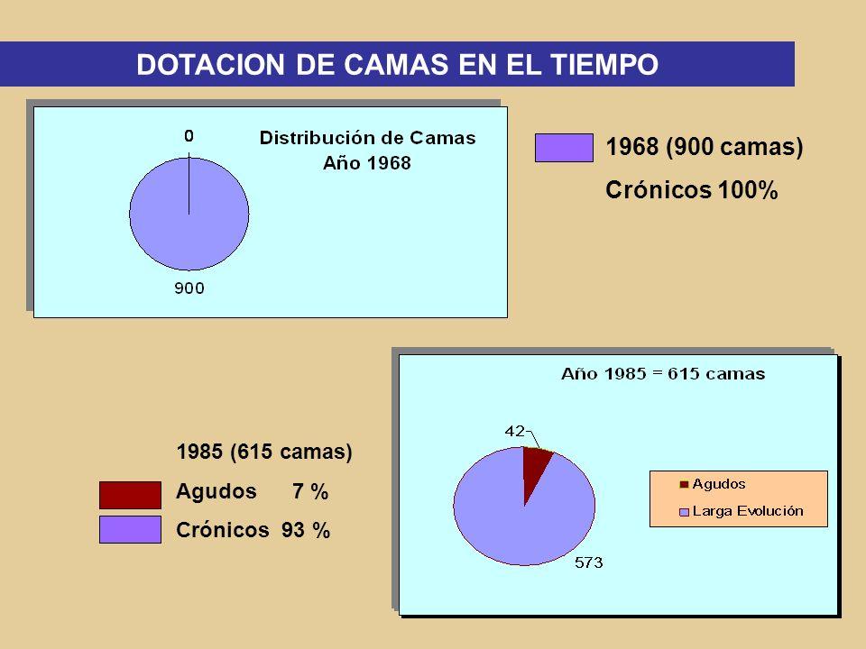 2002 (429 camas) Larga Estadía73 % Agudos 6 % Forense Mediana 5 % Urgencia 4 % Forense Alta 5 % Psiq.