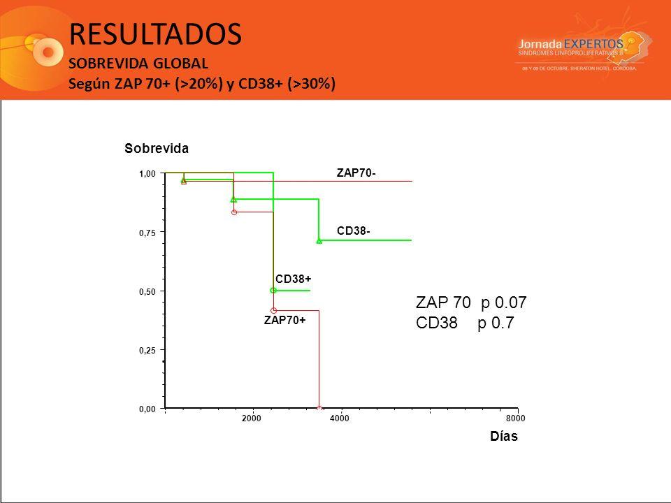 RESULTADOS SOBREVIDA GLOBAL Según ZAP 70+ (>20%) y CD38+ (>30%) 0 20004000 6000 8000 0,00 0,25 0,50 0,75 1,00 Sobrevida Días ZAP70- ZAP70+ CD38- CD38+