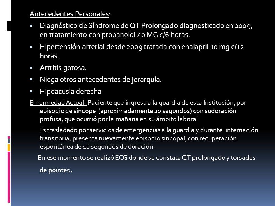 El síndrome de QT largo es una canalopatía arritmogénica caracterizada por una grave alteración en la repolarización ventricular, traducida electrocardiográficamente por una prolongación del intervalo QT.