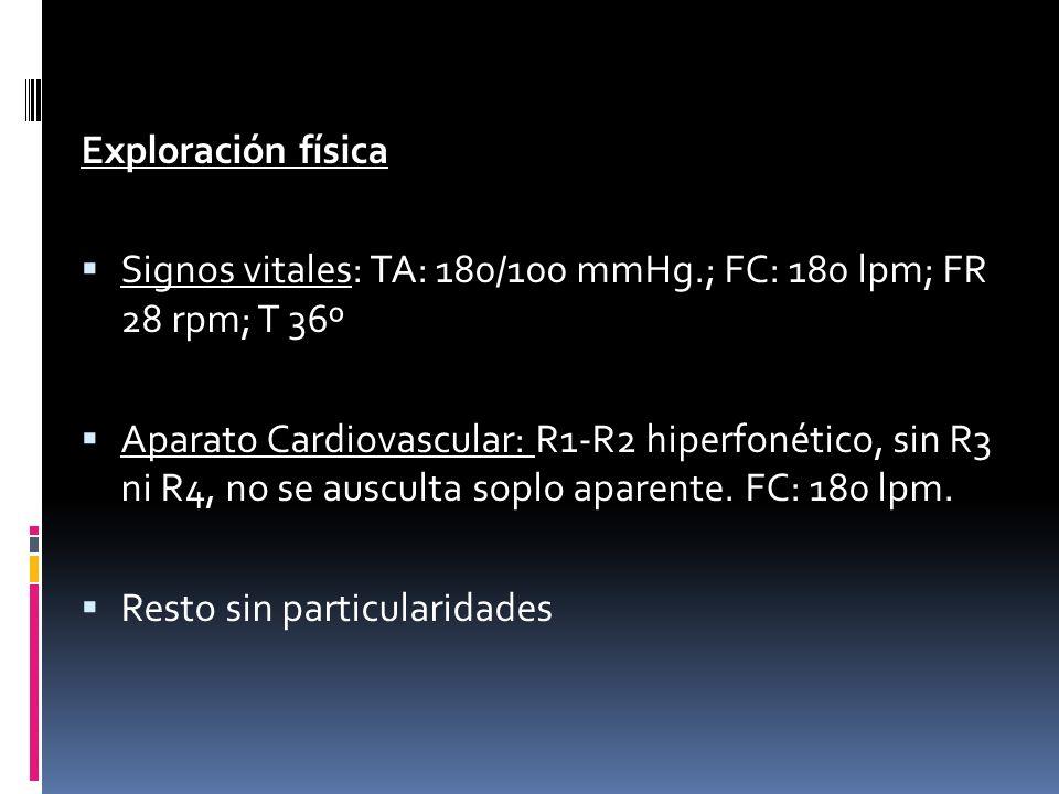 Exploración física Signos vitales: TA: 180/100 mmHg.; FC: 180 lpm; FR 28 rpm; T 36º Aparato Cardiovascular: R1-R2 hiperfonético, sin R3 ni R4, no se a