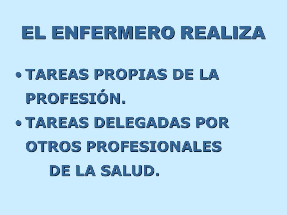 EL ENFERMERO REALIZA TAREASTAREAS PROPIAS DE LA PROFESIÓN. DELEGADAS POR OTROS PROFESIONALES DE LA SALUD.