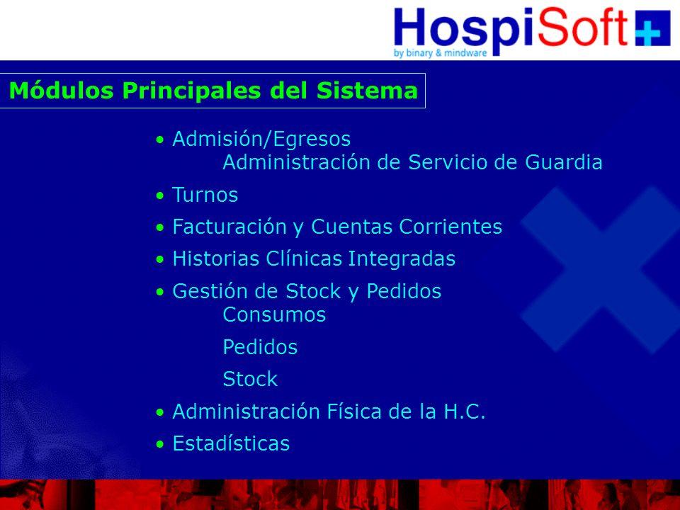 Módulos Principales del Sistema Admisión/Egresos Administración de Servicio de Guardia Turnos Facturación y Cuentas Corrientes Historias Clínicas Inte