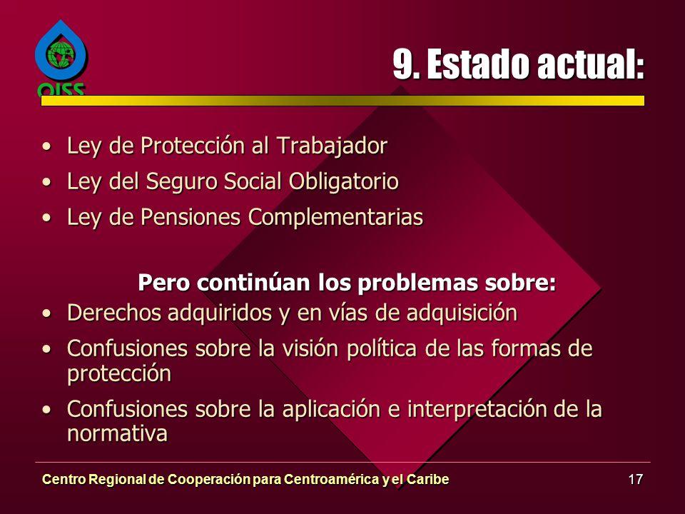 Centro Regional de Cooperación para Centroamérica y el Caribe17 9. Estado actual: Ley de Protección al TrabajadorLey de Protección al Trabajador Ley d