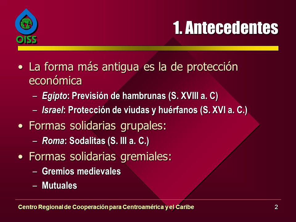 Centro Regional de Cooperación para Centroamérica y el Caribe2 1. Antecedentes La forma más antigua es la de protección económicaLa forma más antigua