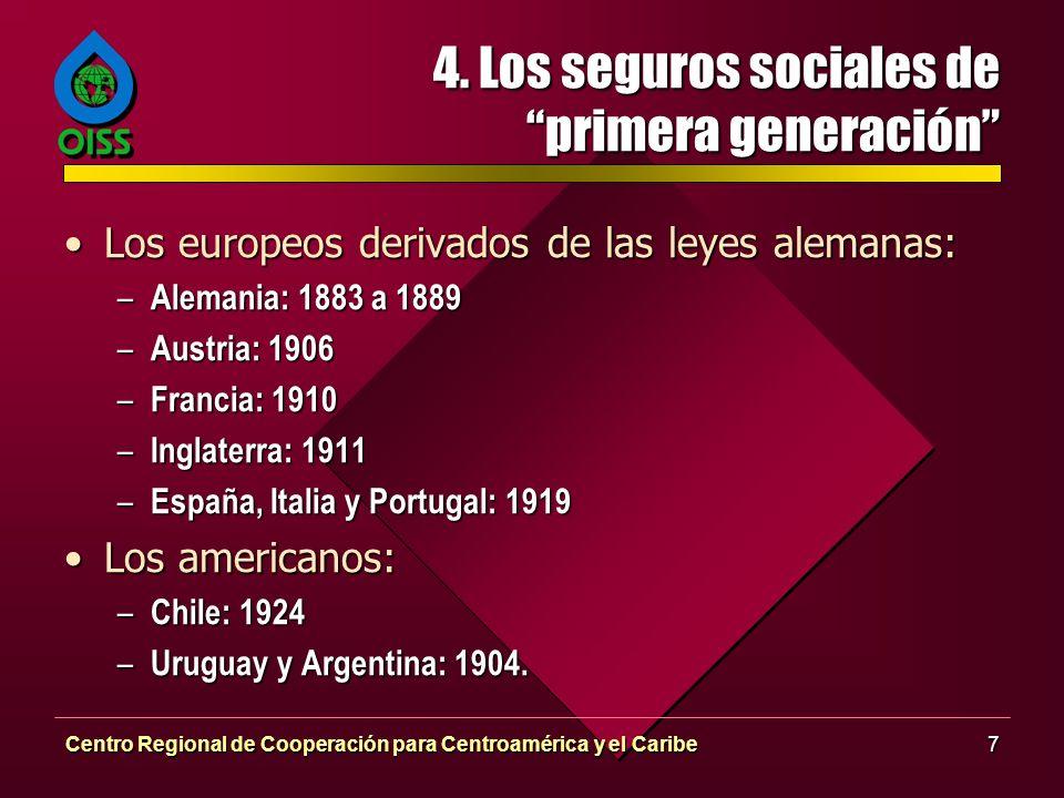 Centro Regional de Cooperación para Centroamérica y el Caribe7 4. Los seguros sociales de primera generación Los europeos derivados de las leyes alema