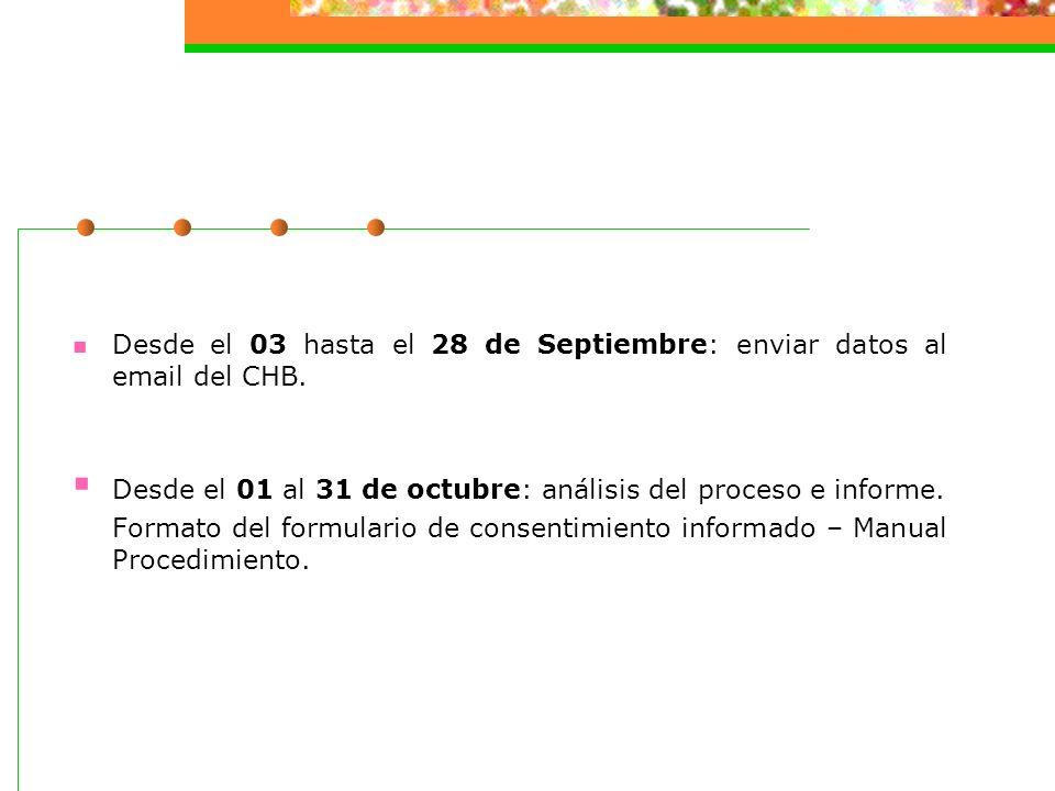 Desde el 03 hasta el 28 de Septiembre: enviar datos al email del CHB.