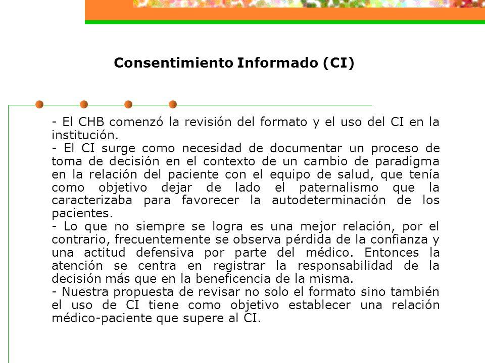 Consentimiento Informado (CI) - El CHB comenzó la revisión del formato y el uso del CI en la institución.