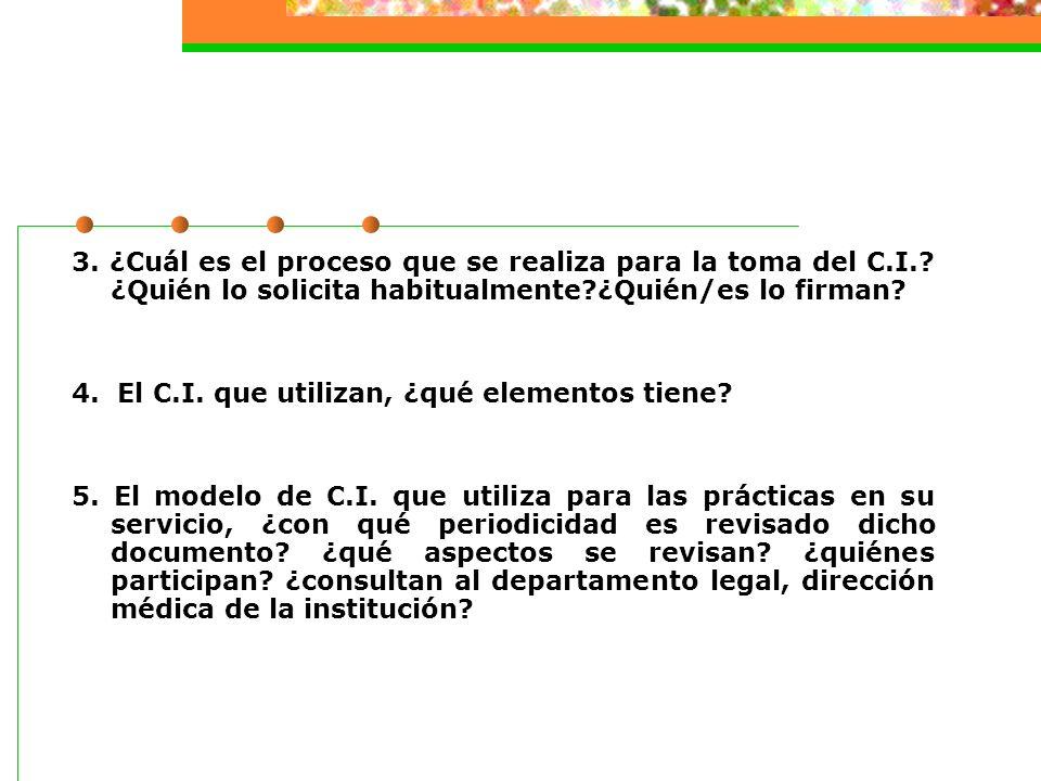 3.¿Cuál es el proceso que se realiza para la toma del C.I..