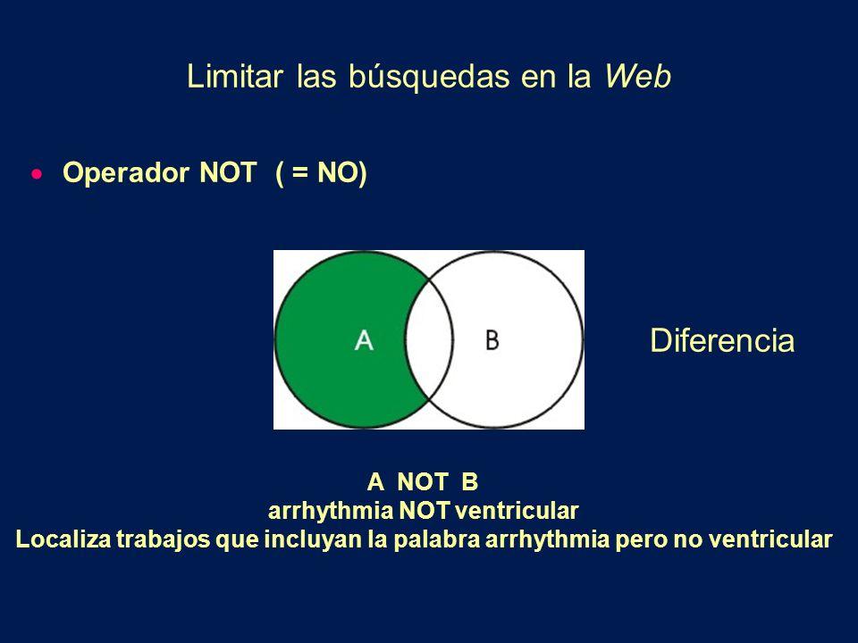 Operador NOT ( = NO) A NOT B arrhythmia NOT ventricular Localiza trabajos que incluyan la palabra arrhythmia pero no ventricular Limitar las búsquedas en la Web Diferencia