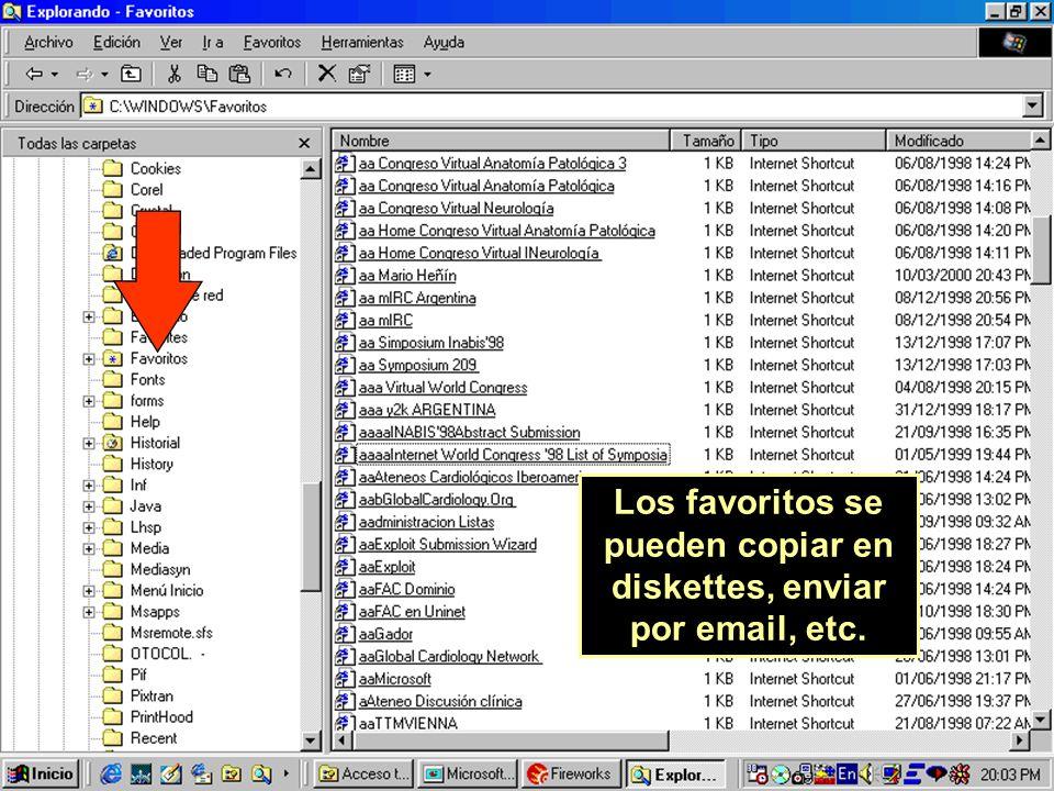 Los favoritos se pueden copiar en diskettes, enviar por email, etc.