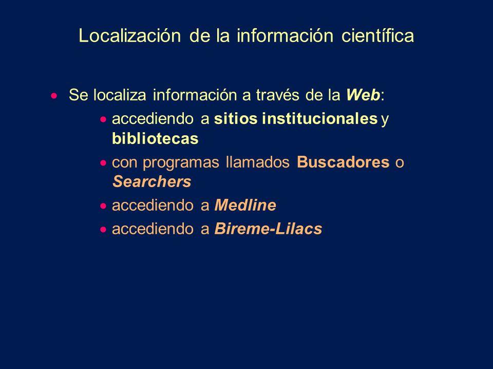 PubMed (Medline) Técnicas: Búsquedas simples Utilización de Limits Journal Browser Citation Matcher MeSH Browser (actualmente MeSH Database) Clinical Queries Cubby El material de texto completo (full text) puede ser obtenido en forma gratuita o bajo un arancel.