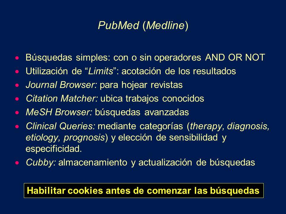 PubMed (Medline) Búsquedas simples: con o sin operadores AND OR NOT Utilización de Limits: acotación de los resultados Journal Browser: para hojear re