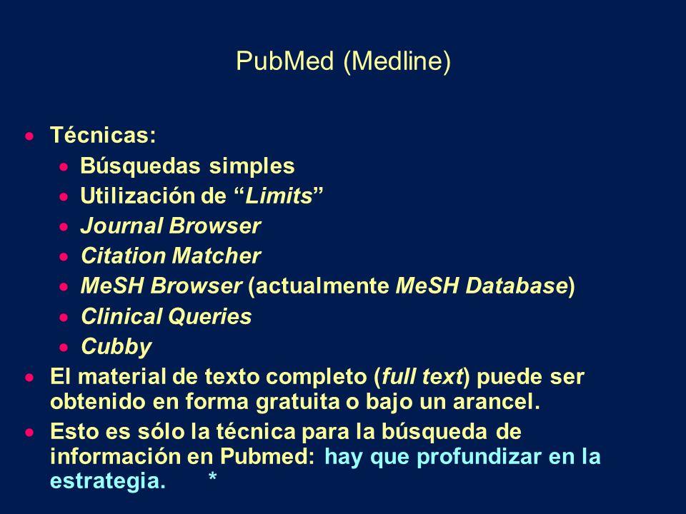 PubMed (Medline) Técnicas: Búsquedas simples Utilización de Limits Journal Browser Citation Matcher MeSH Browser (actualmente MeSH Database) Clinical