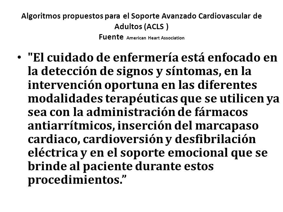 Algoritmos propuestos para el Soporte Avanzado Cardiovascular de Adultos (ACLS ) Fuente American Heart Association