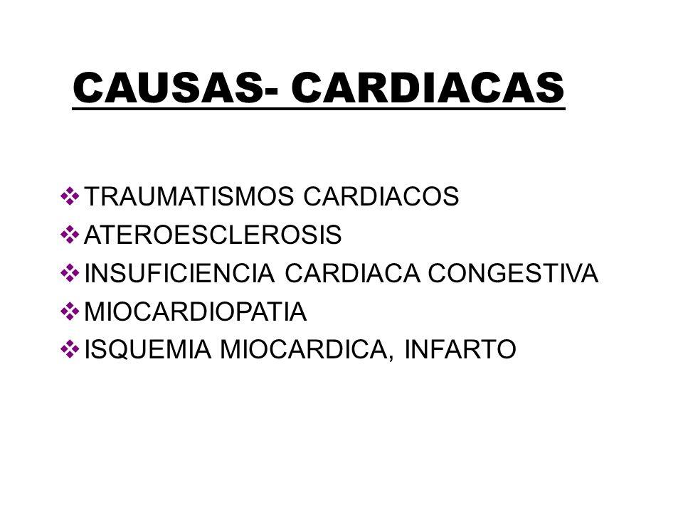 CAUSAS- CARDIACAS TRAUMATISMOS CARDIACOS ATEROESCLEROSIS INSUFICIENCIA CARDIACA CONGESTIVA MIOCARDIOPATIA ISQUEMIA MIOCARDICA, INFARTO