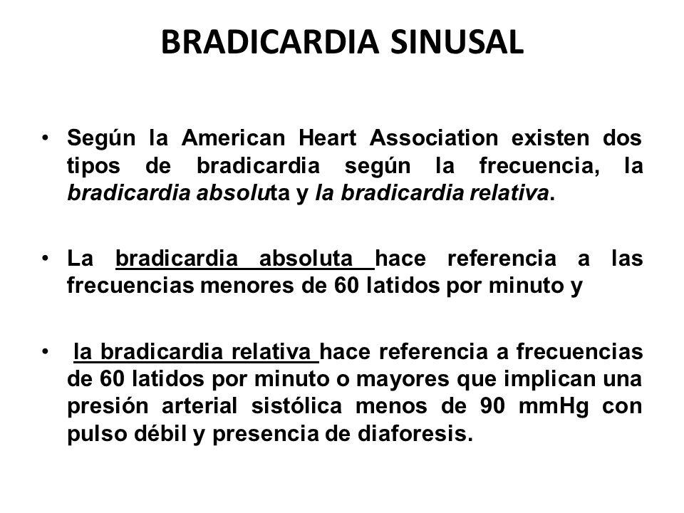 BRADICARDIA SINUSAL Según la American Heart Association existen dos tipos de bradicardia según la frecuencia, la bradicardia absoluta y la bradicardia