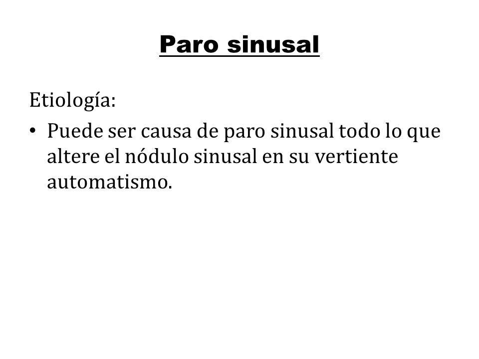 Paro sinusal Etiología: Puede ser causa de paro sinusal todo lo que altere el nódulo sinusal en su vertiente automatismo.