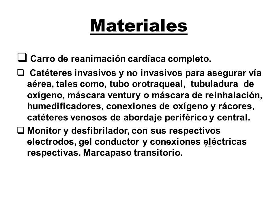 Materiales Carro de reanimación cardíaca completo. Catéteres invasivos y no invasivos para asegurar vía aérea, tales como, tubo orotraqueal, tubuladur