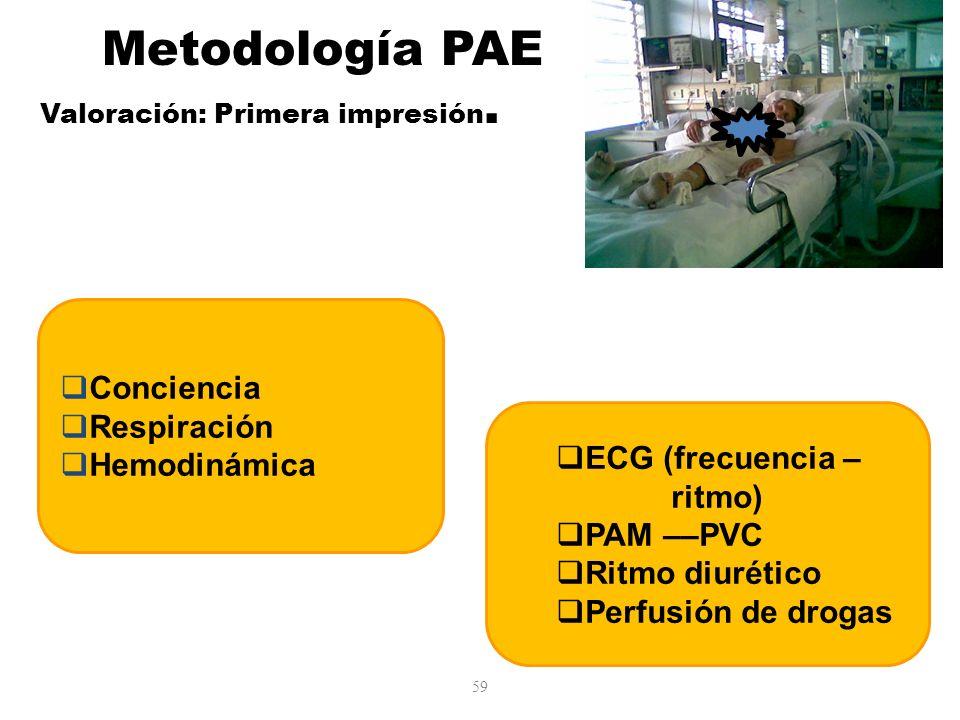 59 Conciencia Respiración Hemodinámica ECG (frecuencia – ritmo) PAM ––PVC Ritmo diurético Perfusión de drogas Metodología PAE Valoración: Primera impr