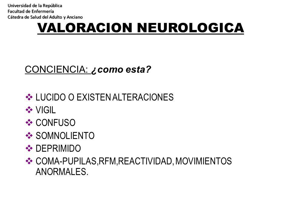 VALORACION NEUROLOGICA CONCIENCIA: ¿como esta? LUCIDO O EXISTEN ALTERACIONES VIGIL CONFUSO SOMNOLIENTO DEPRIMIDO COMA-PUPILAS,RFM,REACTIVIDAD, MOVIMIE