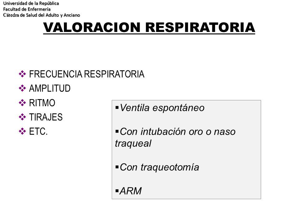 VALORACION RESPIRATORIA FRECUENCIA RESPIRATORIA AMPLITUD RITMO TIRAJES ETC. Universidad de la República Facultad de Enfermería Cátedra de Salud del Ad