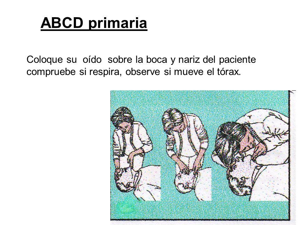 Coloque su oído sobre la boca y nariz del paciente compruebe si respira, observe si mueve el tórax. ABCD primaria